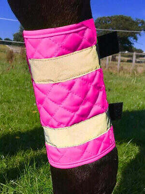 Equisafety Reflective Quilted Leg Boots - PINK