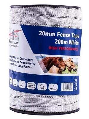 Fenceman High Performance Tape - White - 20mm x 200m